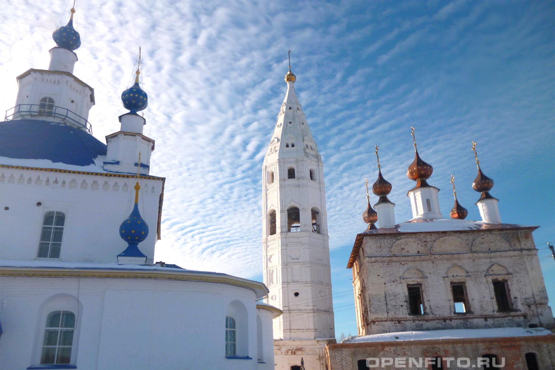 Иаково-Железноборовский мужской монастырь Монастырь состоит из храма Рождества Богородицы - это с голубыми куполами и храма Рождества Иоанна Предтечи